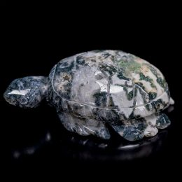 Moss Agate Carved Turtle with Caves
