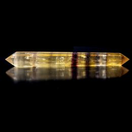 Rare Large Polished Yellow and Purple Fluorite Double Terminated Wand
