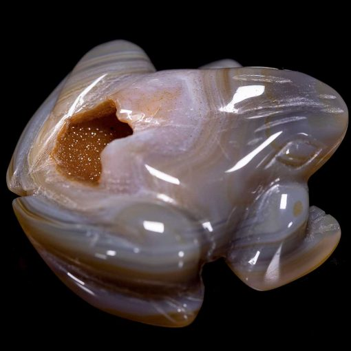 Agate Carved Frog with crystallized Cave